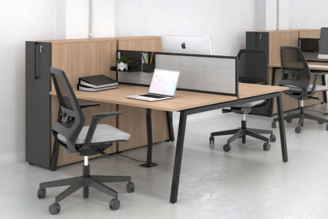 Workstation desk / powder-coated steel / melamine / contemporary